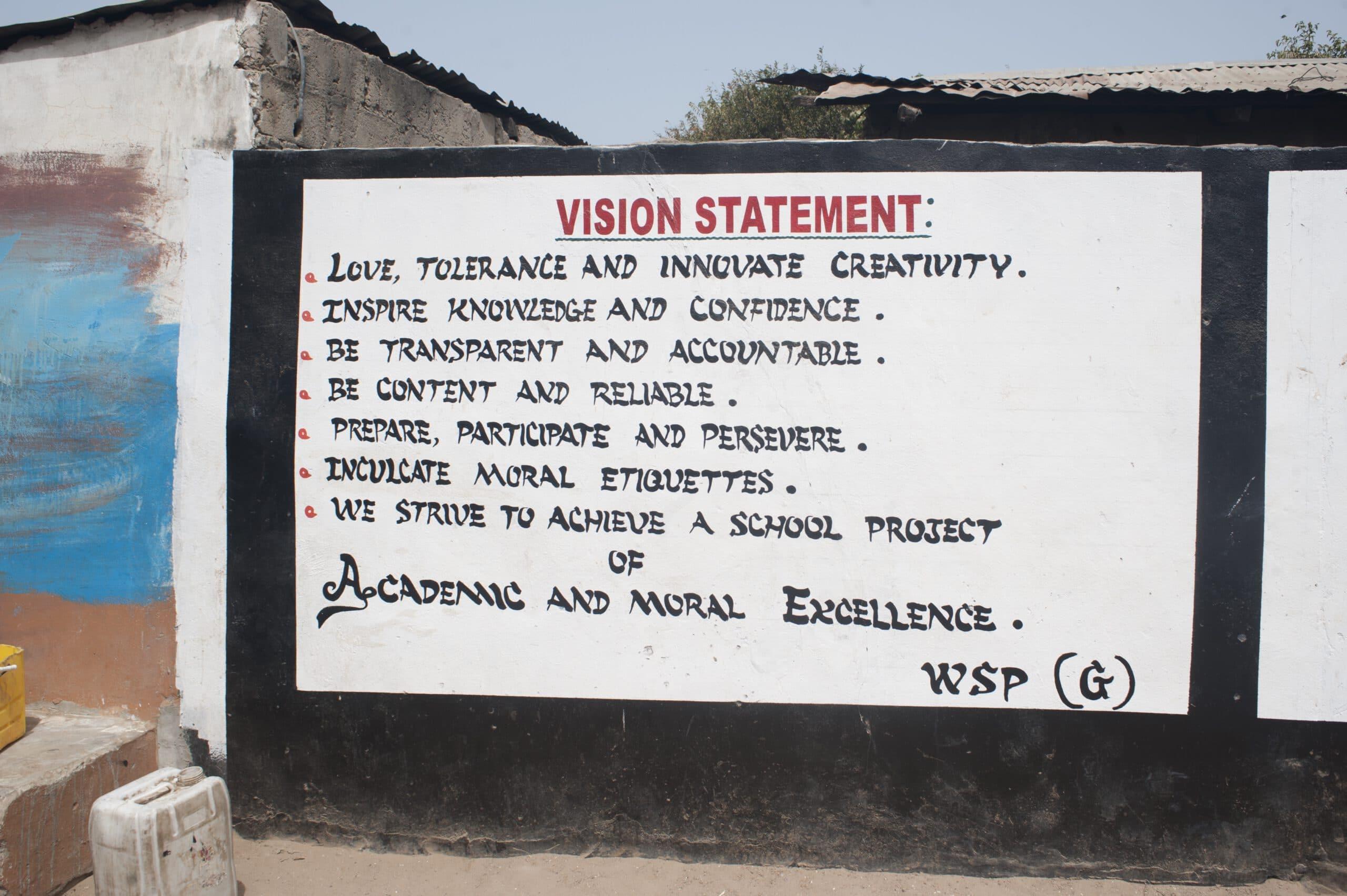 Onderwijs in Gambia,vision statement op de muur